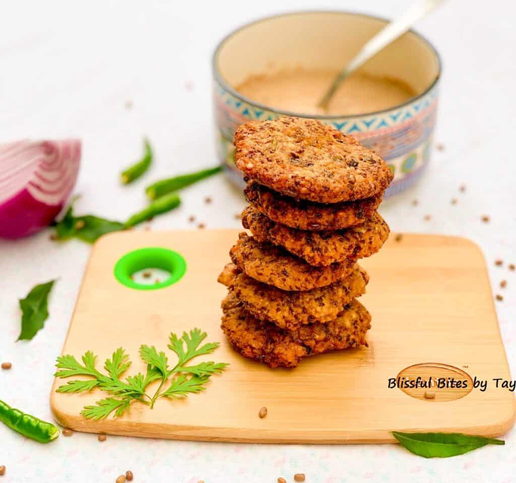 Moth Beans fritters arranged in tower like fashion