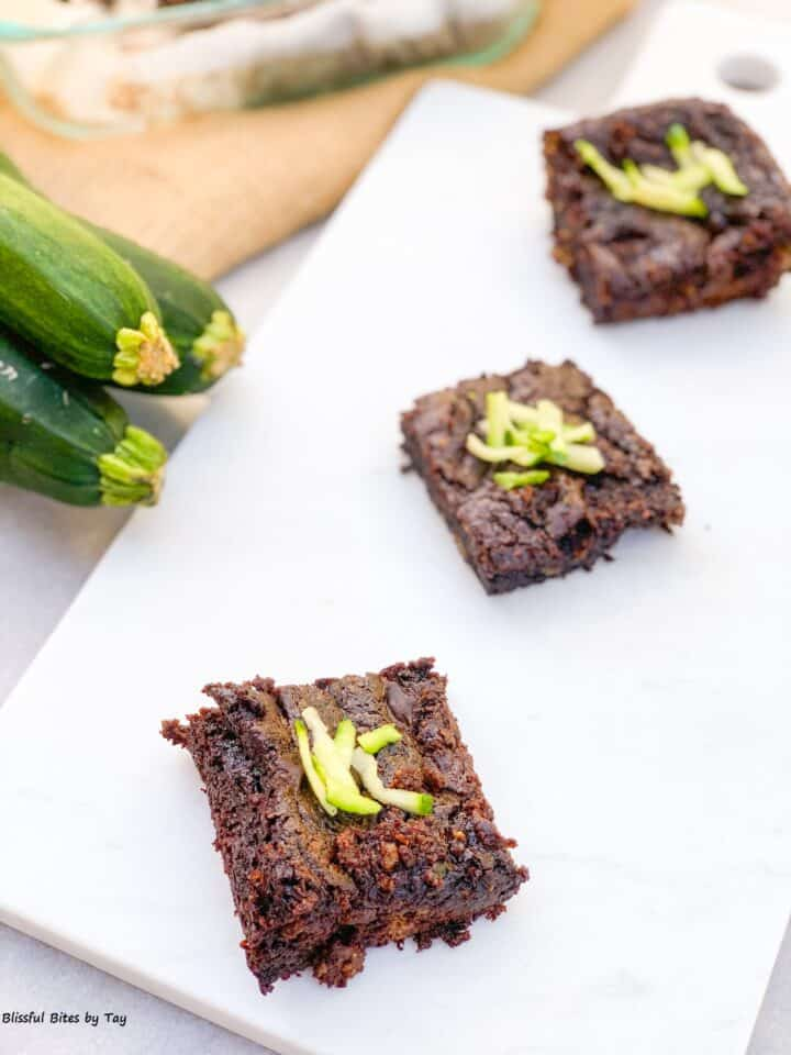 3 zucchini brownie pieces.