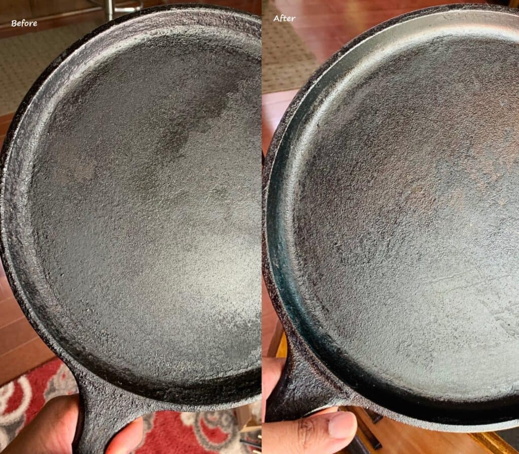 Comparison shot of before and after pictures of pan.