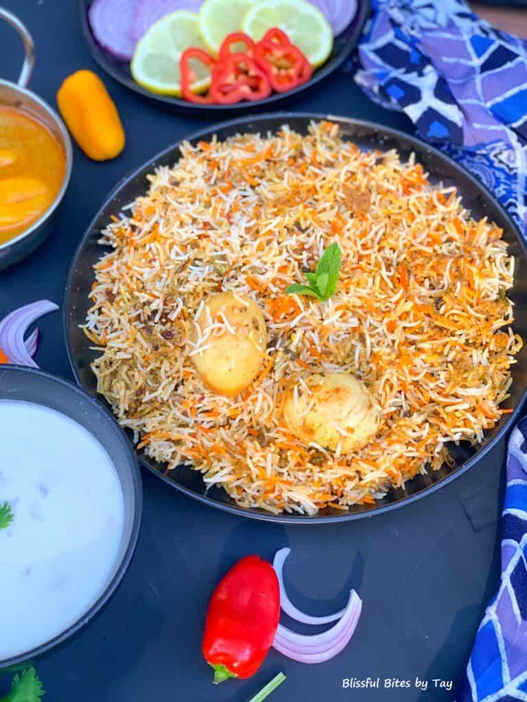 Egg biryani in a plate.