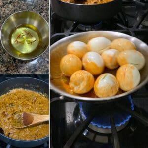 Preparation step: Frying eggs, Soaking saffron.