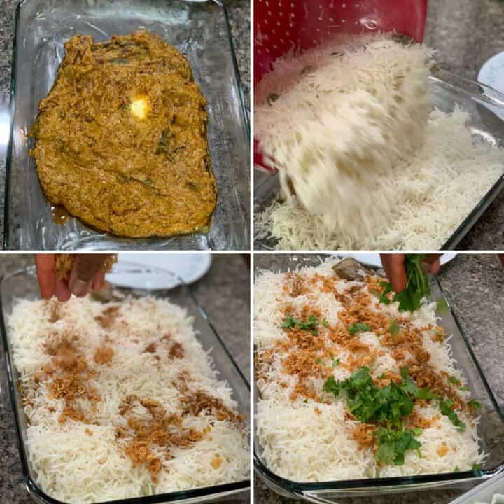 Preparing layers for biryani.