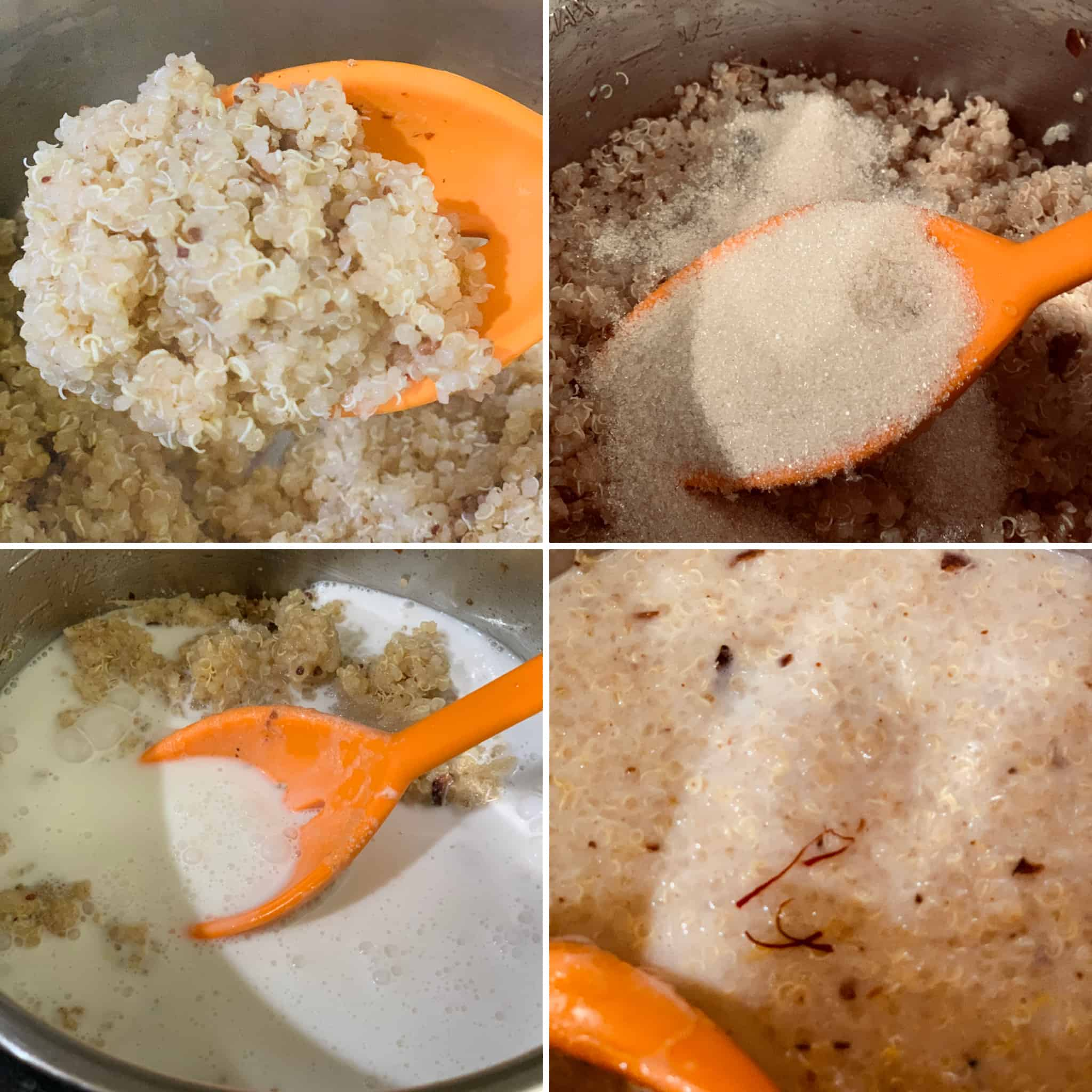 add coconut milk, sugar and saffron to kheer.