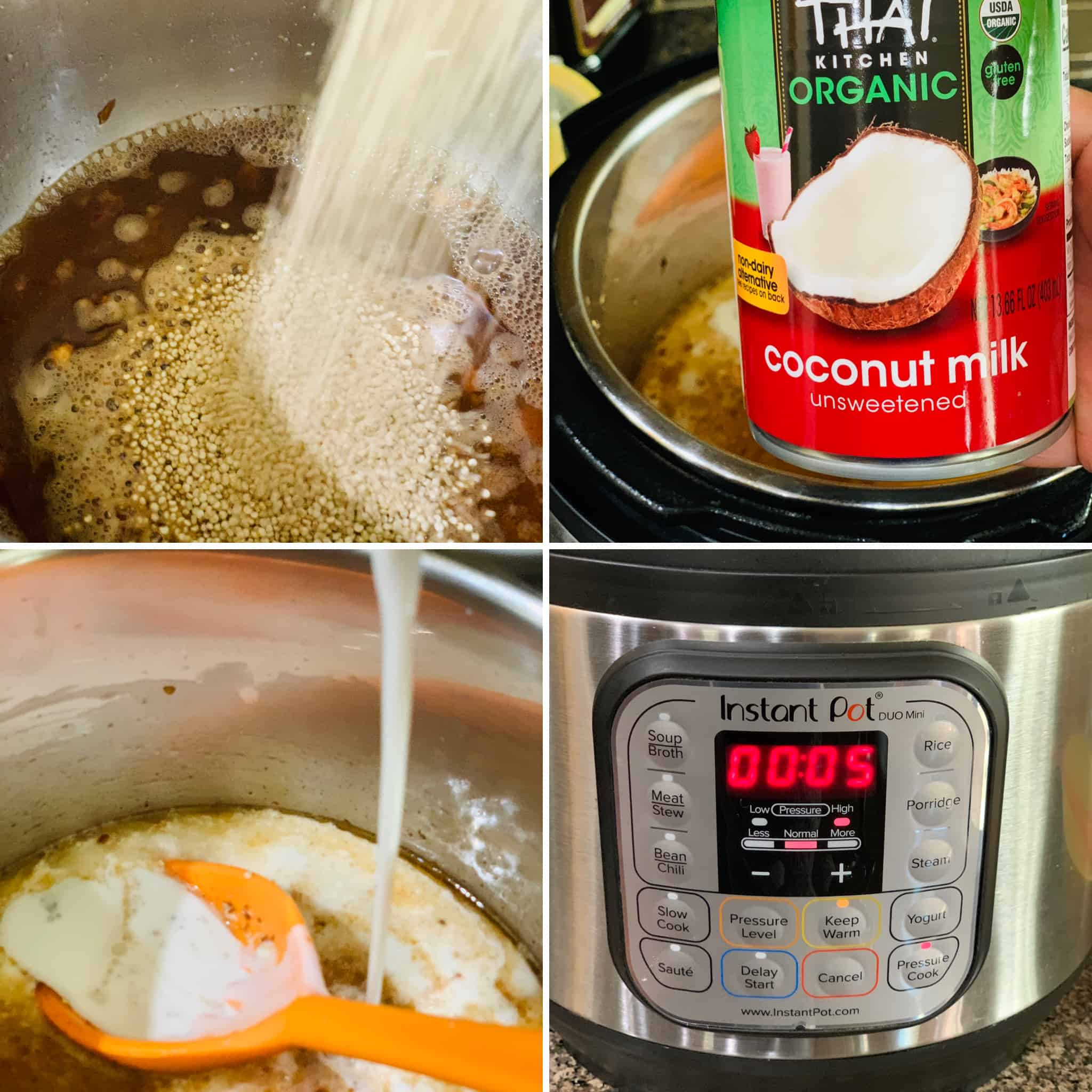 Roast quinoa, add coconut milk and turn on pressure cook mode on Instant pot.