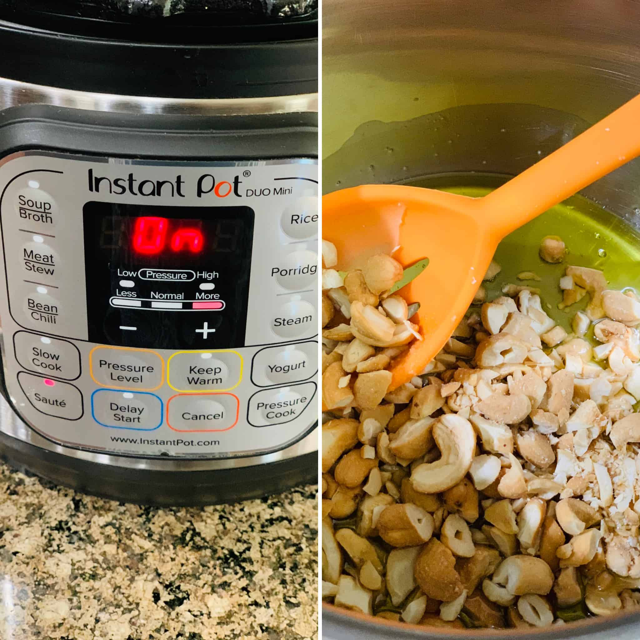 Saute mode on Instant pot and frying the nuts in ghee.