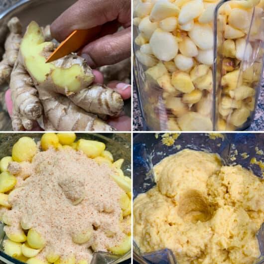 ginger garlic peeling and blending process.