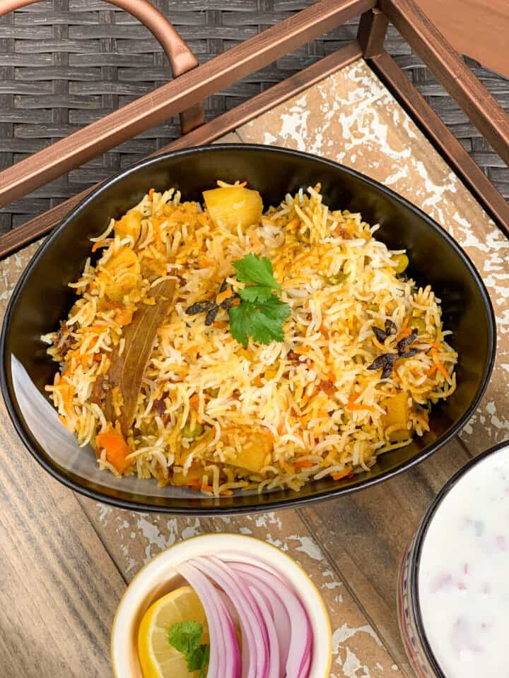 Veg biryani in close up.