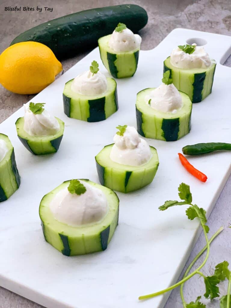 Cucumber cups with Yogurt dip.